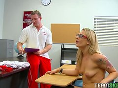 Rough Sex In the Classroom With The Naughty Blonde Bailey Blue