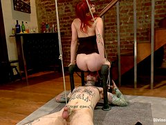 Hot Redhead Mistress Has Fun With Her Slave