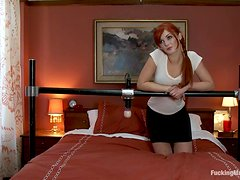 Kinky Redhead Has Her Pink Pussy Drilled By A Machine