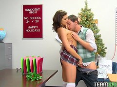 Sexy Brunette Takes A Ride On The Class Nerd's Big Cock