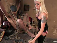 Horny Blonde Mistress Tortures And Fucks One Of Her Slaves