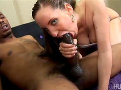 Hot Brunette Shows Her Amazing Ass While Riding A Big Black Cock