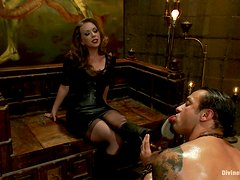 Horny Mistress Rides Her Slave's Big Cock While He's Tied Up