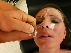 A Thick Layer Of Cum For A Babe's Face After A Gangbang