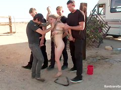 Tied up and fucked in gangbang