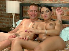 Tranny Face Sitting Tied Up Guy Before Fucking and Footjobing Him