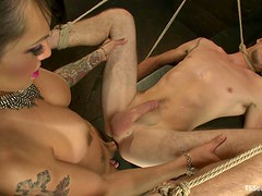 Tattooed Transsexual Fucking and Fingering a Guy's Ass while Jerking Him Off