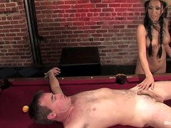 Kinky Lady Ties Guy to Pool Table to Torture His Dick after Pegging