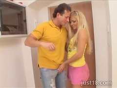 Randy Blonde Minx Getting  Fat Cock in Her Pussy and Asshole
