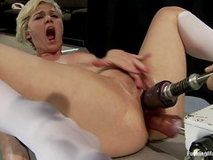 Blonde Teen Screaming as she Gets Double Penetrated by Machines