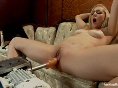 Sex Device Fucking the Brains Out of Blonde Babe Rylie Richman