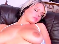 Kinky Blonde Pleases Her Wet Pink Pussy With A Dildo
