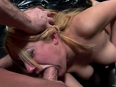 Kinky Blonde Slut Getting Her Throat Fucked Roughly