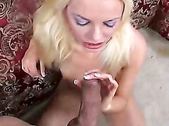 Jessica Jammer blows and gets a load of cum on her mouth