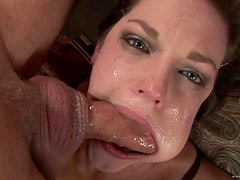 Beautiful Brunette Babe Gagging to a Deepthroat Fucking