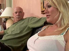 Banging a Round Boobed Blonde Amateur's Cunt on the Couch