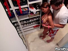 Brunette Babe Alison Star Deepthroats and Fucks in Changing Room