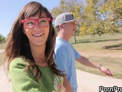 Babe in Glasses Holly Michaels Deepthroats and Fucks in Public