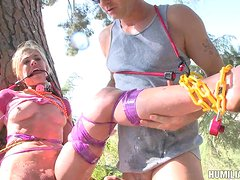 A Brutal Bondage Scene Outdoors With Shelby Angel