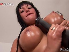 Big Dildo Fun For A Gorgeous Brunette
