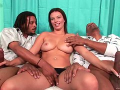 Horny Milf Has A Threesome With Two Long Black Cocks