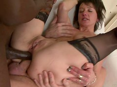 A Double Anal Penetration For A Slutty Brunette In A Threesome