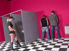 A Threesome In A Restroom With A Hot Officer