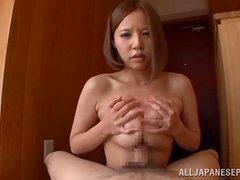 A stunner with lovely large gajongas gives a titjob