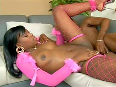 Attractive young ebony with pierced nipples and long whorish nails