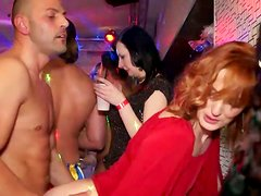 Red haired lady in red seduces a stripper and gets her quim polished tough