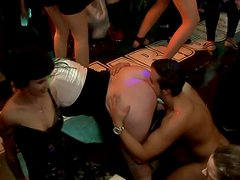 Dirty white sluts give head to hard cocks of steamy strippers