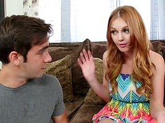 Busty luscious babe Marie McCray gives a head to naive dude