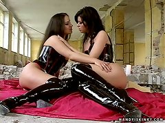 Black Attack for Two Horny and Slutty Brunette Babes