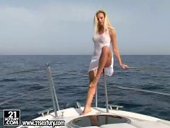 Drop dead gorgeous blonde babe gets her kit off on a yacht