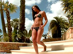 Oiled Up Tanning Babe Natalia Forrest Masturbating Outdoors