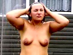 Naked pussy shower outdoor