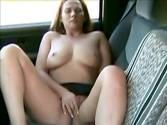 Milf masturbation and orgasms in the car.