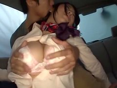 Busty Japanese Stewardess Has Rough Sex In A Car