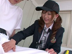 Cuddly Japanese babe Miku Airi is givng an awesome blowjob