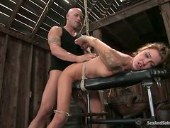 Tattooed Chayse Evans gets tied up and fucked