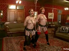 Tied up sluts get their pussies drilled by a fucking machine