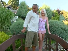 Garden of Interracial Pleasures for Blonde Girl and Black Penis
