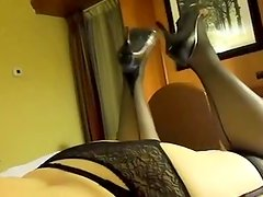 Orall-Service and footjob in stockings and heels