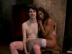 Black tranny in stockings fucks tied up guy rough