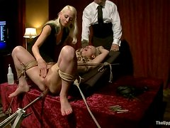 Stunning Blonde Holly Heart Fucked by Machine and Dominated in BDSM Party