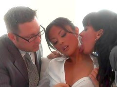 Steamy office threesome with cumshot