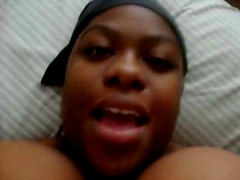 BBW ebony with huge juggs films herself