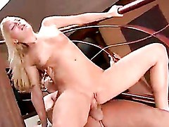 Sexy Aurora Snow bounces her tight pink hole on a huge fat noodle
