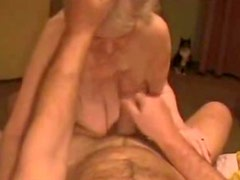 Cumming on face of very old slut granny. Amateur older