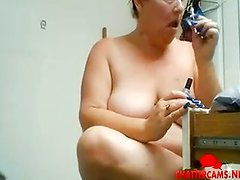 Naked Fat Granny Face Paint and Hash Pipe